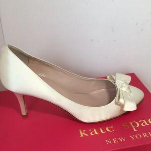 kate spade Shoes - Kate Spade Ivory satin bridal Pumps Size 6.5 M